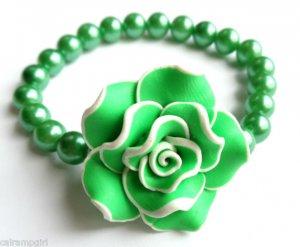 Green Frangipani flower Beaded Pearl Bracelet Plumeria