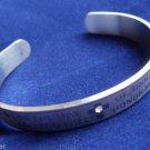 Silver Religious Cuff Bracelet Christian Psalms 50:15 Bible Verse crystal stone