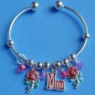 Red Roses MOM Bangle Charm Bracelet