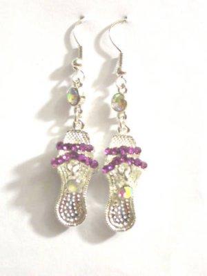 Silver High heel shoe Earrings Purple crystals