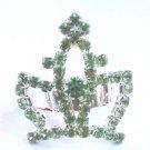 Princess Crown cocktail Ring adjustable green crystals