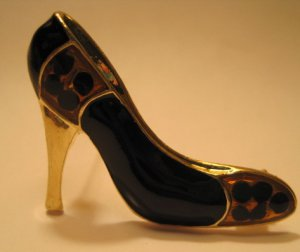 Black Brown gold Shoe Pin Brooch