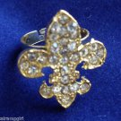 Gold Fleur de lis Cocktail Ring adjustable Clear
