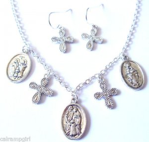 Silver Saints medals Cross Necklace earrings set