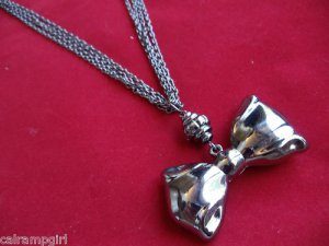Antique Silver Bow Necklace Multi Chain Design