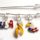Support Troops Patriotic Pin Yellow Ribbon USA Charms