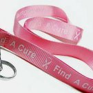 Breast Cancer Awareness Lanyard ID Holder  pink ribbon
