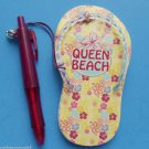 Flip Flop Magetic Note Pad Pen set Magnet Queen Beach