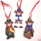 Policeman Bears Christmas Ornaments set of 3