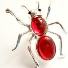 Ant Cocktail Ring adjustable band Silver Red