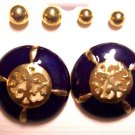Purple Gold round Earrings 3 Pairs