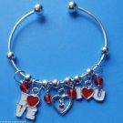 Love Valentines Day heart Charm Bracelet