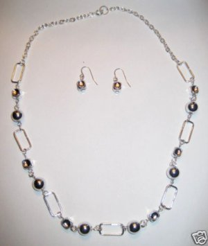 "16"" Silver Necklace Set with Earrings"