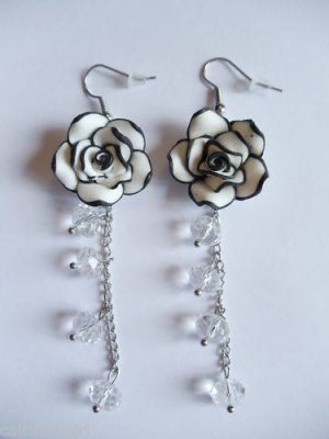 White Black frangipani Plumeria Flower Earrings 3""