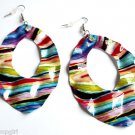 Metal Rainbow Striped Print Fashion Design Earrings
