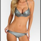 Silver Metallic Halter Tie Bikini Set size S M L