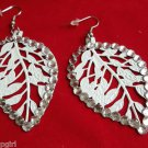 White Metal Leaf Earrings Rhinestones