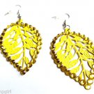 Yellow Metal Leaf Earrings Rhinestones
