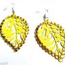 Yellow Metal Leaf Earrings Rhinestones