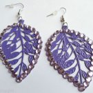 Purple Metal Leaf Earrings Rhinestones