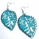 Blue Metal Leaf Earrings Rhinestones
