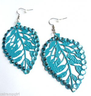 Blue Metal Leaf Earrings Rhinestones