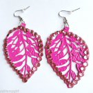 Pink Metal Leaf Earrings Rhinestones