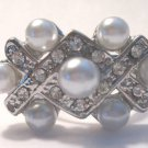 Pearl Cocktail Ring Silver crystals adjustable
