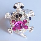 Silver Turtle Ring adjustable band Pink crystals