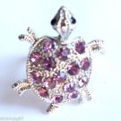 Silver Turtle Cocktail Ring adjustable band Purple