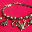 Turtles Lions  Hearts Animal Charm Bracelet Antique Gold Brown cord