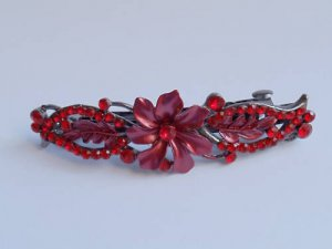 Red Crystal Flower Hair clip Barrette