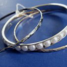 Pearl Bangle Bracelets Set of 3 Silver and Gold