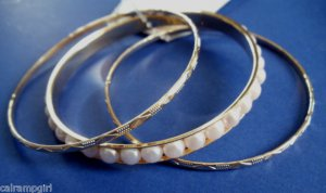 Pearl Bangle Bracelets Set of 3 Gold