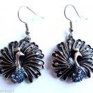 Silver Peacock Earrings Blue Crystal stones