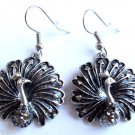Silver Peacock Earrings Gray Crystal stones