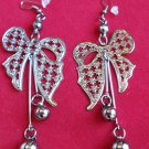 Antique Silver Bow Earrings Dangling balls