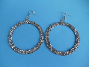 2 1/2 Antique Silver Matte Glitter Look Hoop Earrings
