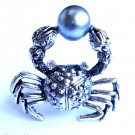 Silver Crab Cocktail Ring adjustable band Gray pearl