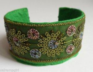Green Oriental Style Cuff Bracelet