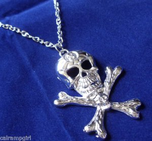 Silver Skull Necklace Pirates Haloween