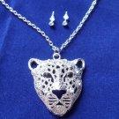 Silver Rhinestone Leopard Necklace earrings set cats