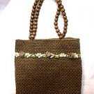 Girls Dark Brown Straw woven and beaded Handbag purse