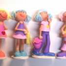 "Lot of 4 Poly resin Cutie Girls Figures  4"" tall"