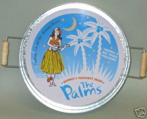 The Palms Hawaiian Serving Tray Hula Girl Hallmark