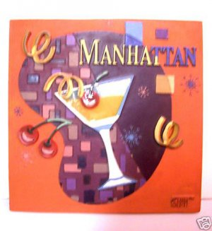 Manhattan Wall Plaque tile sign Cocktails