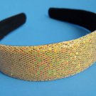 "Gold Sequins Glitter headband 1"" Wide"