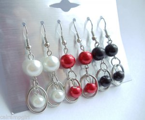 Earrings Silver 3 pair Pearls White Red Black