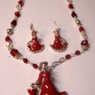 Red Dress for the heart and Soul necklace earrings set