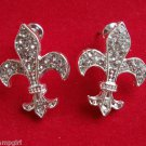 Fleur de Lis Crystal Earrings Silver toned 1""